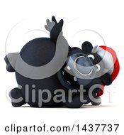 3d Black Christmas Bull Character Waving And Resting On His Side On A White Background