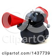 3d Black Christmas Bull Character Using A Megaphone On A White Background