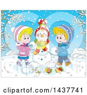 Cartoon Blond White Brother And Sister Building A Snowman On A Winter Day