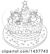 Cartoon Black And White Lineart Festive Christmas Cake With Tree Snowman And Santa Toppers