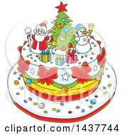 Clipart Of A Cartoon Festive Christmas Cake With Tree Snowman And Santa Toppers Royalty Free Vector Illustration