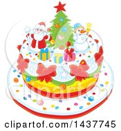 Clipart Of A Festive Xmas Cake With Tree Snowman And Santa Toppers Royalty Free Vector Illustration
