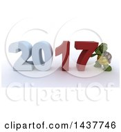 Clipart Of A 3d Tortoise Pushing New Year 2017 Together On A Shaded White Background Royalty Free Illustration