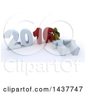 Clipart Of A 3d Tortoise Getting Ready To Remove 16 And Change It To New Year 2017 On A Shaded White Background Royalty Free Illustration