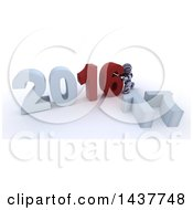 Poster, Art Print Of 3d Silver Robot Getting Ready To Remove 16 And To Make New Year 2017 Over White