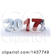 Poster, Art Print Of 3d Silver Robot Pushing Together New Year 2017 Over White