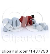 Clipart Of A 3d Snowman Getting Ready To Remove 16 And To Make New Year 2017 Over White Royalty Free Illustration