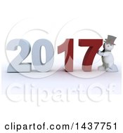 Clipart Of A 3d Snowman Pushing 2017 New Year Together On A Shaded White Background Royalty Free Illustration