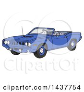 Clipart Of A Blue 1971 Hemi Plymouth Barracuda Convertible Muscle Car Royalty Free Vector Illustration by LaffToon