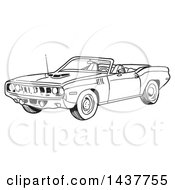 Clipart Of A Black And White Lineart 1971 Hemi Plymouth Barracuda Convertible Muscle Car Royalty Free Vector Illustration by LaffToon