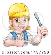 Clipart Of A Cartoon Happy White Female Electrician Wearing A Hardhat Holding Up A Screwdriver And Pointing Royalty Free Vector Illustration by AtStockIllustration