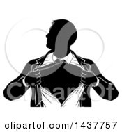 Clipart Of A Black And White Silhouetted Strong Business Man Super Hero Ripping Off His Suit Royalty Free Vector Illustration