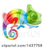 Clipart Of A Cartoon Rainbow Chameleon Lizard Royalty Free Vector Illustration by AtStockIllustration