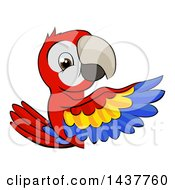 Clipart Of A Cartoon Happy Scarlet Macaw Parrot Pointing Around A Sign Royalty Free Vector Illustration