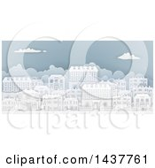Clipart Of A Row Of Paper Cut Styled Georgian Or Victorian Houses In A Neighborhood On Blue Royalty Free Vector Illustration