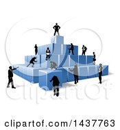 Team Of Silhouetted Business Men And Women Assembling A Pyramid Of 3d Blue Cubes