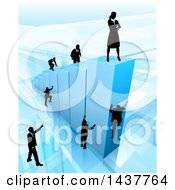 Clipart Of A 3d Blue Bar Graph With Silhouetted Business Men And Women Competing To Reach The Top Royalty Free Vector Illustration by AtStockIllustration