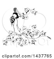 Clipart Of A Silhouetted Black And White Bride Posing In A Wedding Gown With A Bouquet And Floral Swirls Royalty Free Vector Illustration