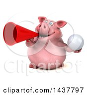 3d Chubby Pig Holding A Golf Ball On A White Background