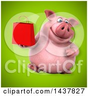 Clipart Of A 3d Chubby Pig Holding A Shopping Or Gift Bag Royalty Free Illustration