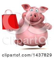3d Chubby Pig Holding A Shopping Or Gift Bag On A White Background