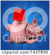 3d Chubby Pig Holding A Shopping Or Gift Bag