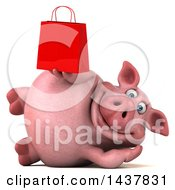 Clipart Of A 3d Chubby Pig Holding A Shopping Or Gift Bag On A White Background Royalty Free Illustration