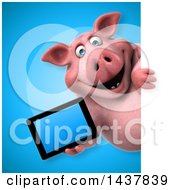 3d Chubby Pig Holding A Tablet Computer