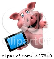 3d Chubby Pig Holding A Tablet Computer On A White Background