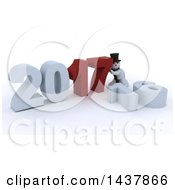 Clipart Of A 3d Snowman Pushing Together New Year 2017 With 16 On The Ground Over White Royalty Free Illustration