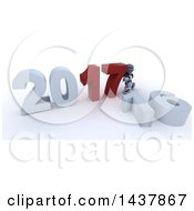 Clipart Of A 3d Silver Robot Pushing Together New Year 2017 With 16 On The Ground Over White Royalty Free Illustration