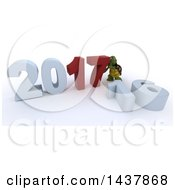 Clipart Of A 3d Tortoise Pushing Together New Year 2017 With 16 On The Ground Over White Royalty Free Illustration