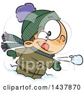 Cartoon Caucasian Boy Throwing A Snowball