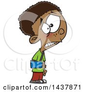 Clipart Of A Cartoon Black Boy Wearing A Sling On His Arm Royalty Free Vector Illustration
