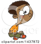 Clipart Of A Cartoon Black Boy Sitting On The Ground Royalty Free Vector Illustration