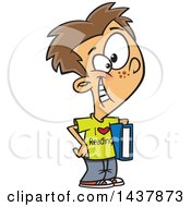 Clipart Of A Cartoon Caucasian Boy Wearing An I Love Reading Shirt And Holding A Book Royalty Free Vector Illustration