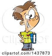 Cartoon Caucasian Boy Wearing An I Love Reading Shirt And Holding A Book