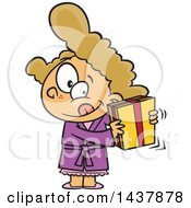 Clipart Of A Cartoon White Girl Shaking A Gift Royalty Free Vector Illustration