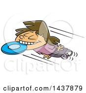 Clipart Of A Cartoon White Girl Catching A Frisbee With Her Teeth Royalty Free Vector Illustration by Ron Leishman