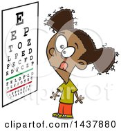 Clipart Of A Cartoon Black Girl Looking At An Eye Chart Royalty Free Vector Illustration by toonaday