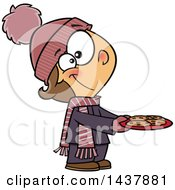 Clipart Of A Cartoon White Girl Gifting Cookies Royalty Free Vector Illustration by Ron Leishman