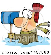 Clipart Of A Cartoon White Man Buried In Snow Holding A Shovel Royalty Free Vector Illustration