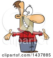 Clipart Of A Cartoon White Welcoming Man Wearing A Plaid Shirt Royalty Free Vector Illustration