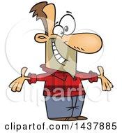 Cartoon White Welcoming Man Wearing A Plaid Shirt