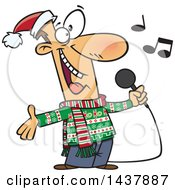 Clipart Of A Cartoon White Man Singing Christmas Karaoke Songs Royalty Free Vector Illustration by Ron Leishman