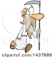 Clipart Of A Cartoon Father Time Walking With A Scythe Royalty Free Vector Illustration