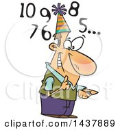 Cartoon White Man Counting Down To New Year