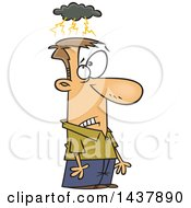 Clipart Of A Cartoon White Man Brainstorming Royalty Free Vector Illustration