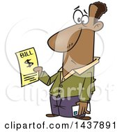 Clipart Of A Cartoon Black Man Holding A Bill Royalty Free Vector Illustration by toonaday