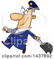 Cartoon White Male Airline Pilot Walking Proudly With A Rolling Suitcase